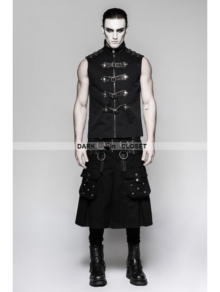 Punk Rave Black Gothic Dark Series Metal Warrior Skirt For