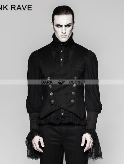 Punk Rave Black Gothic Gentleman Punk Stripe Chinese Style Buckle Vest for Men