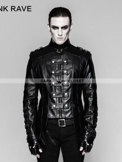 Punk Rave Black Gothic Heavy Punk Metal Military Uniform Short Coat