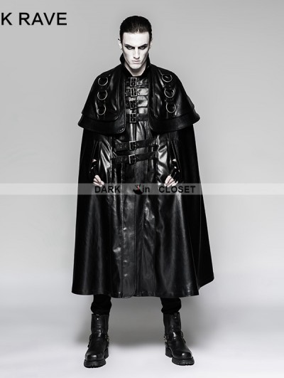 Punk Rave Black Long Cloak Steampunk Jacket for Men