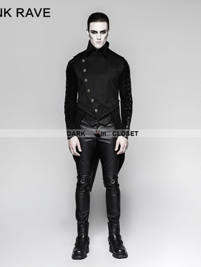 Punk Rave Black Gothic Punk Stripe Chinese Style Buckle Swallow-tail Vest for Men