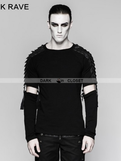 "Punk Rave Black Gothic Punk Minimalist Diablo ""Warrior "" Detachable Long Sleeve Mens T-shirt"