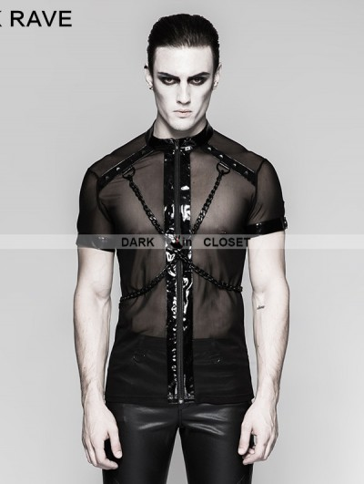 Punk Rave Black Gothic Punk Minimalist Dense Mesh Cross Chain T-shirt for Men