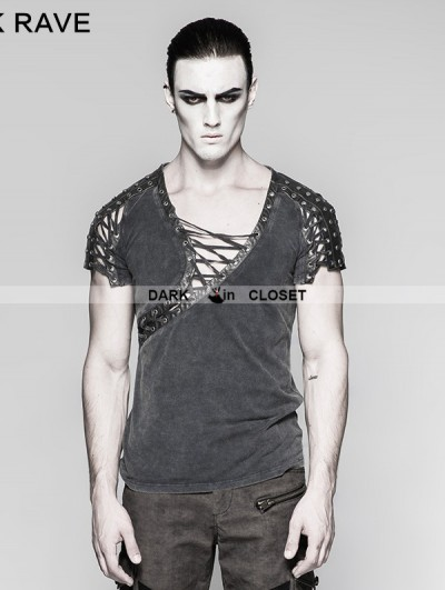 Punk Rave Steampunk Asymmetric Neck T-shirt for Men