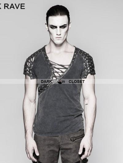 Punk Rave Steampunk Asymmetric Neck T-shirt for Men