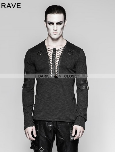 Punk Rave Black Chest Strap Steampunk Long Sleeve T-shirt for Men
