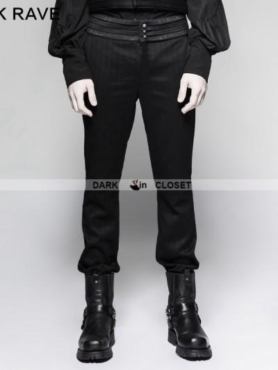 Punk Rave Black Gentleman Steampunk Striped Trousers for Men