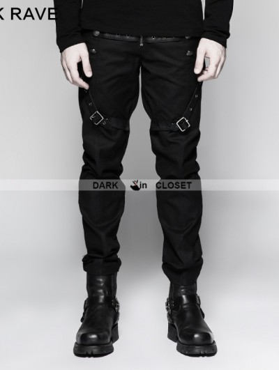 Punk Rave Black Gothic Military Uniform Male Trousers