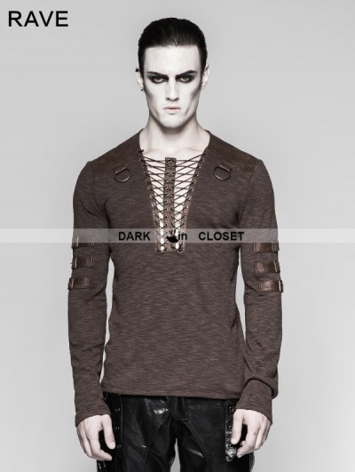 Punk Rave Coffee Chest Strap Steampunk Long Sleeve T-shirt for Men