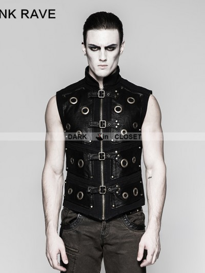 Punk Rave Black Gothic Heavy Punk Corn Vest for Men