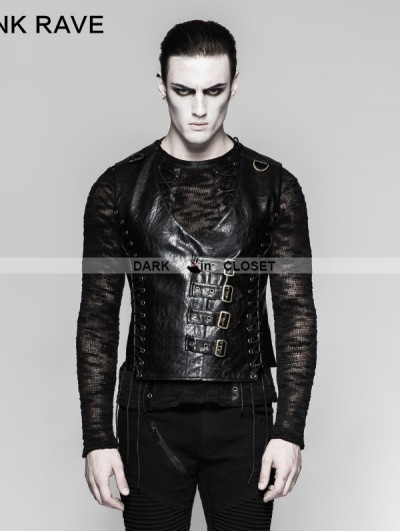Punk Rave Black Gothic Bandage Mechanical Steampunk Waistcoat for Men