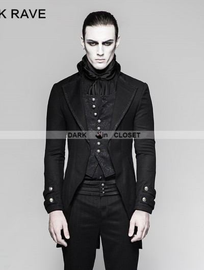 Punk Rave Black Gothic Gentleman Steampunk Fake Two-pieces Jacket for Men