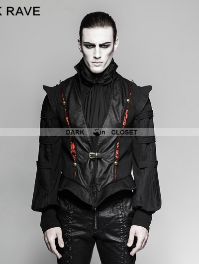 Punk Rave Black Gothic Century Palace Luxury Vest for Men