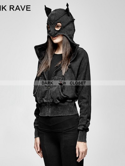 Punk Rave Black Gothic Punk Dark Bats Loose Short Hoodie for Women
