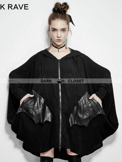 Punk Rave Black Gothic Bats Jacket for Women