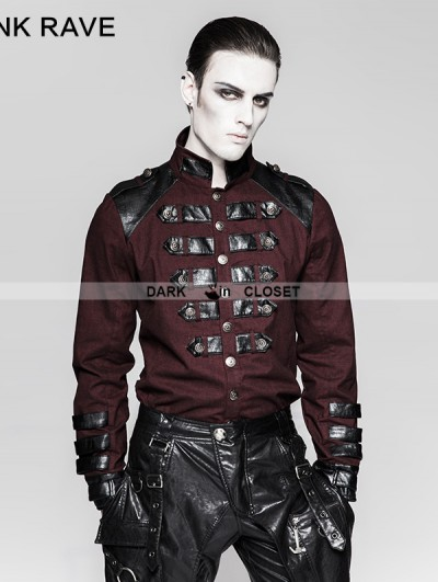 Punk Rave Red Gothic Loop Military Uniform Long Sleeve Shirt for Men