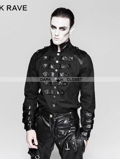Punk Rave Black Gothic Loop Military Uniform Long Sleeve Shirt for Men