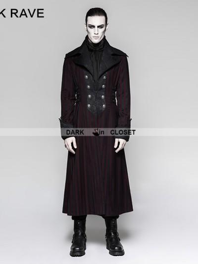 Punk Rave Red Gentleman Steampunk Stripe Long Coat for Men