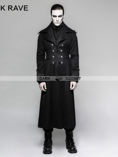 Punk Rave Black Gentleman Steampunk Stripe Long Coat for Men
