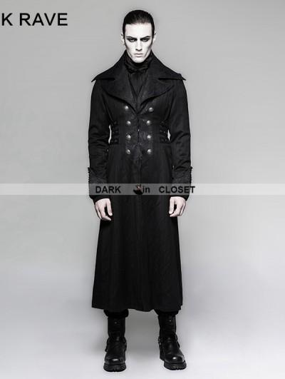 Punk Rave Black Gentleman Steampunk Stripe Long Coat for Men
