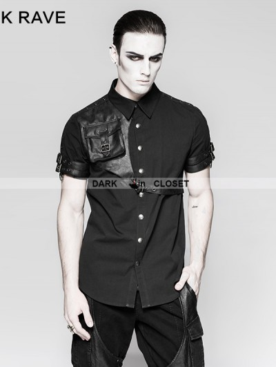 Punk Rave Black Steampunk Messenger Bag Shirt for Men