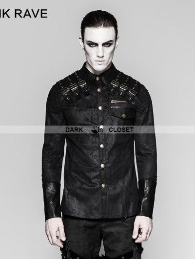Punk Rave Black Heavy Metal Gothic Punk Shoulder Long Sleeve Shirt for Men