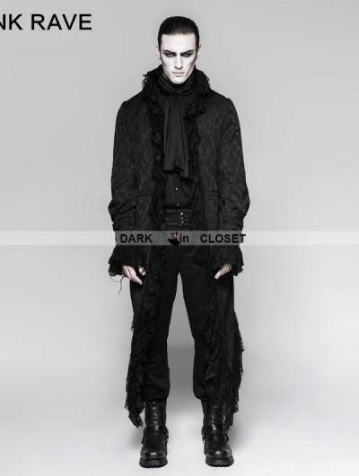 Punk Rave Black Gothic Decadent Long Coat for Men