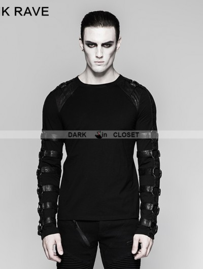 Punk Rave Black Gothic Iron Man heavy Metal Long Sleeve T-Shirt for Men
