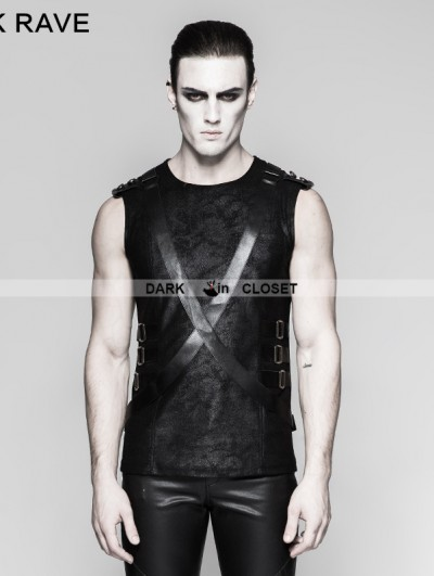 Punk Rave Black Gothic PU Leather Sleeveless Military Uniform T-Shirt for Men