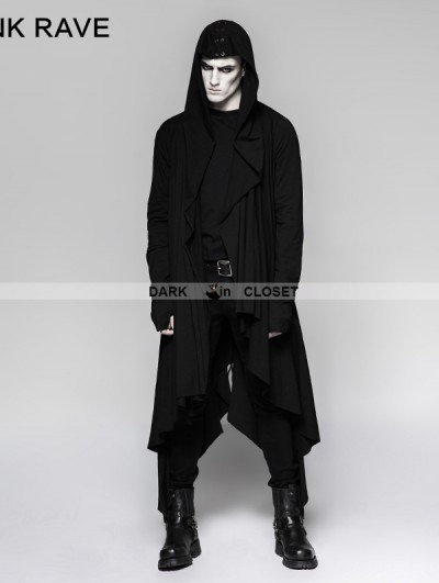 Punk Rave Black Gothic Dark Decadence Knitted Mens Coat with Hood