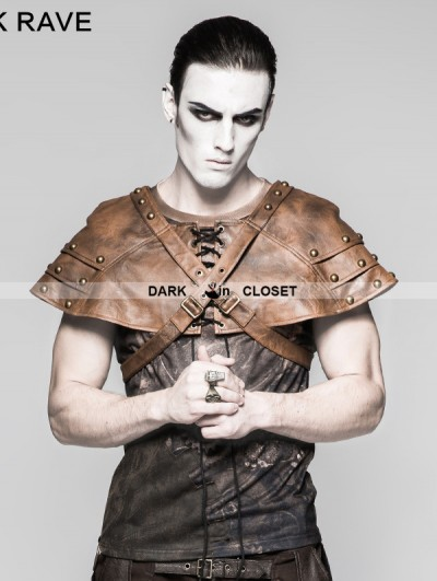 Punk Rave Coffee Mechanical Steampunk Armor Cape for Men