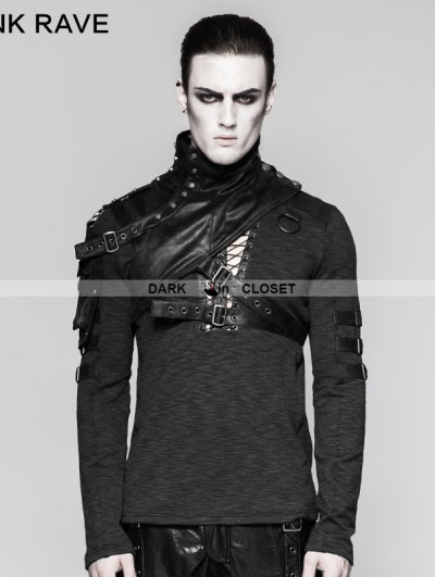 Punk Rave Black Mechanical Steampunk Armor Short Jacket for Men