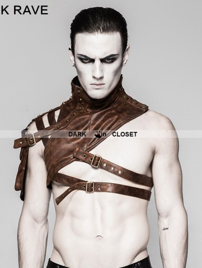 Punk Rave Coffee Mechanical Steampunk Armor Short Jacket for Men