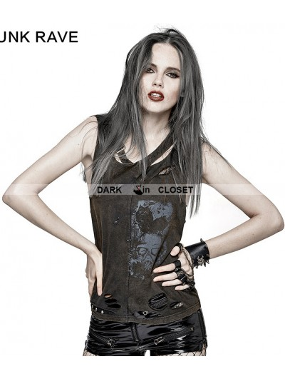 Punk Rave Do Old Gothic Punk Vest for Women