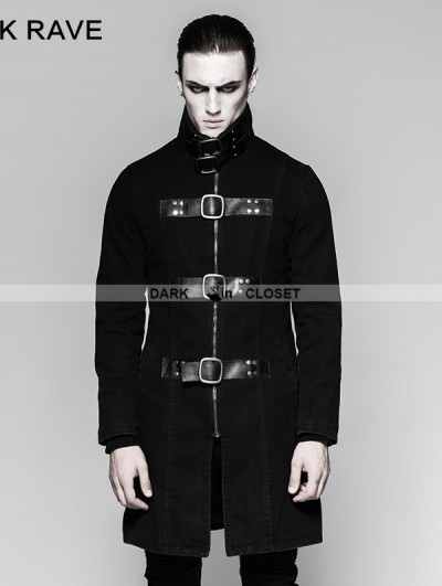 Punk Rave Black Gothic Punk Multiple Loops Denim Simple Jacket for Men