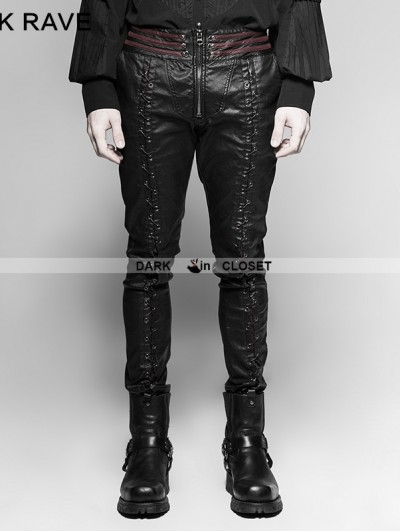 Punk Rave Black Gothic Vampire Piaget Bloody Decoy Trousers for Men