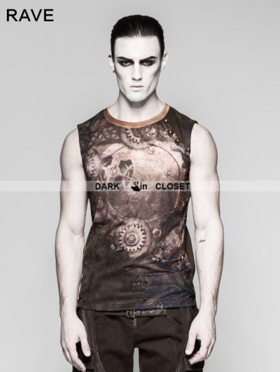 Punk Rave Coffee Steampunk Digital Printing Sleeveless T-shirt for Men