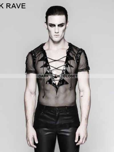 Punk Rave Black Gothic Bat Wings Collar T-Shirt for Men