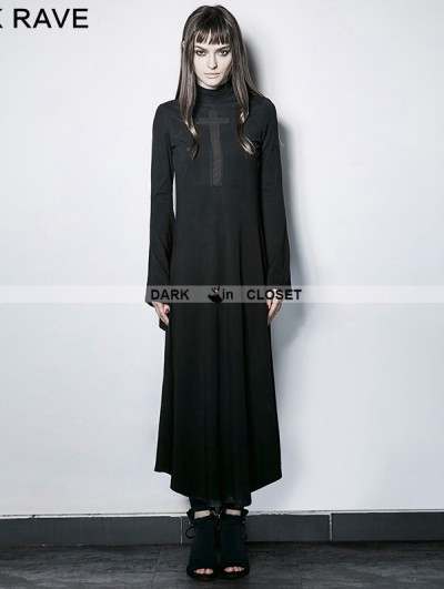 Punk Rave Gothic Dark Cross Hollow-out Trumpet Sleeves Slim Long Dress