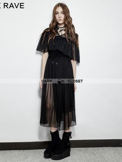 Punk Rave Black Gothic Vintage Ballerina Two-pieces Sun Dress