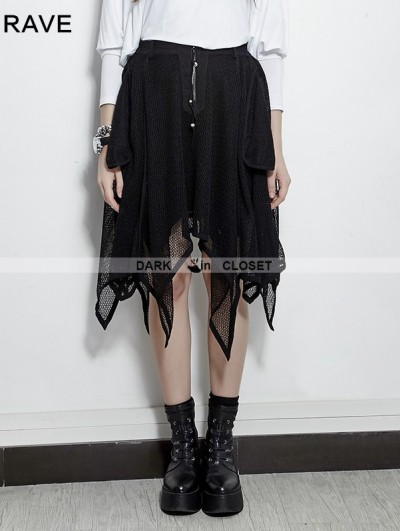 Punk Rave Black Gothic Bat Irregular Skirt