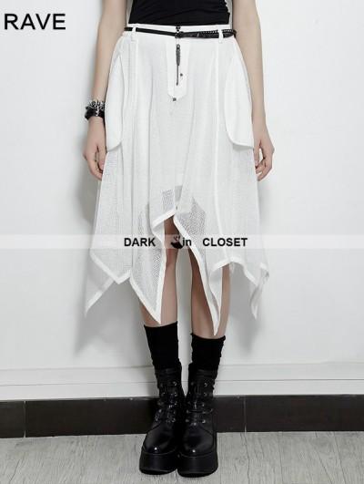 Punk Rave White Gothic Bat Irregular Skirt