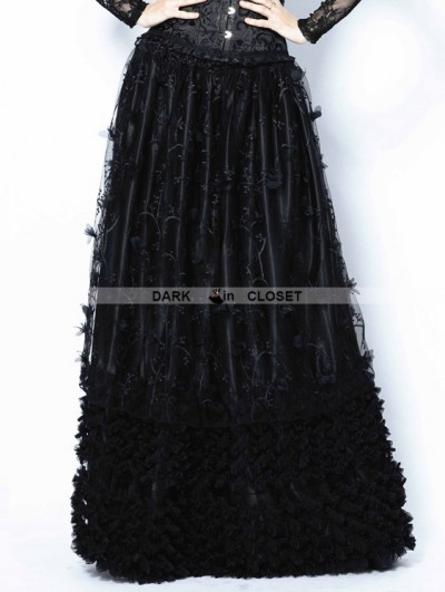 Dark in Love Black Gothic Flowers Lace Long Skirt