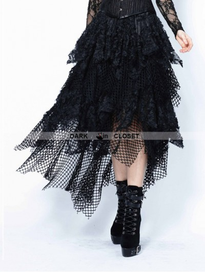 Dark in Love Black Gothic Punk Messy Mesh and Lace Skirt