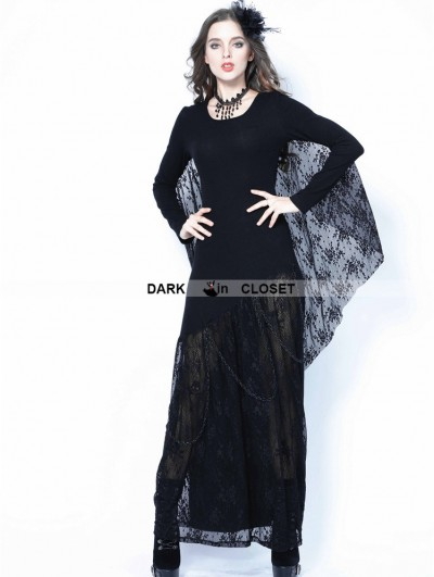 Dark in Love Black Gothic Bat Lace Sleeve Dress