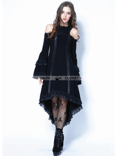 Dark in Love Black Gothic Tail Sexy Dress with Big Trumpet Sleeves