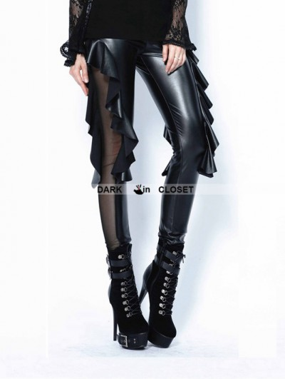 Dark in Love Black Gothic Sexy Flounce Legging Pants for Women