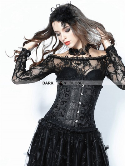Dark in Love Black Gothic Vintage Pattern Underbust Corset