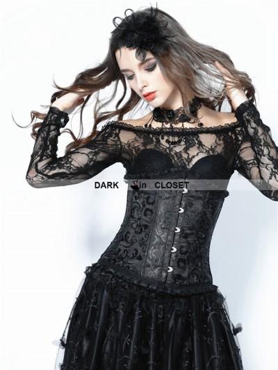 Dark in Love Black Gothic Vintage Pattern Underbust Corset