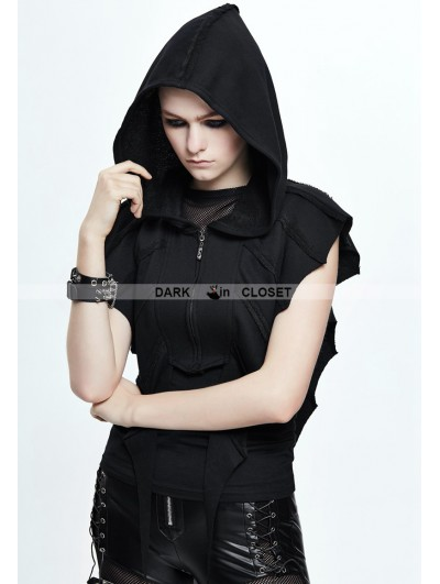 Devil Fashion Black Gothic Bat Style Short Hooded Jacket for Women